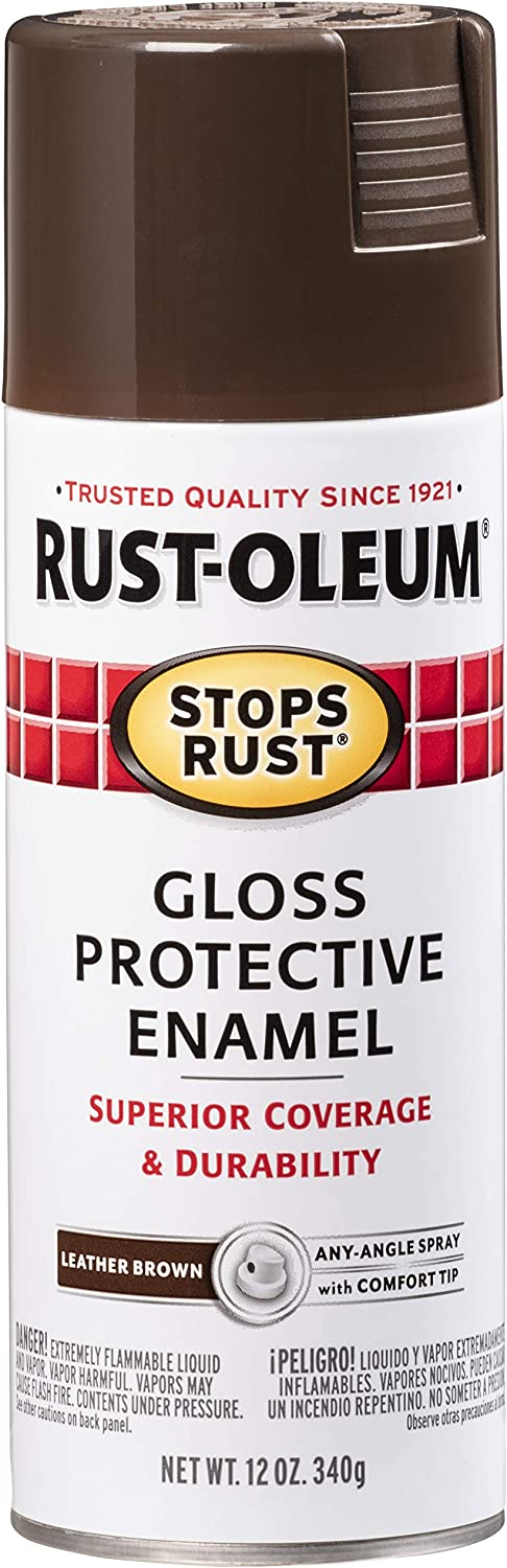Rust-Oleum 7775830 Stops Rust Spray Paint, 12-Ounce, Gloss Leather Brown