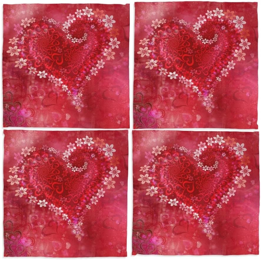 Amazon Com Naanle Red Valentines Day Love Heart Washable Placemats 12 X 12 Inches Set Of 4 Place Mats For Dining Table Home Kitchen