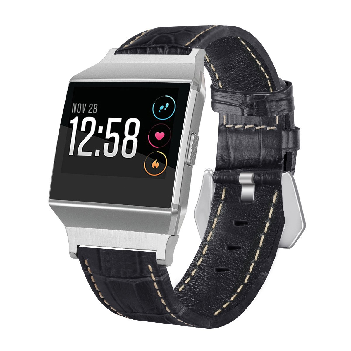 For Fitbitイオンバンド本革交換watch2バンド/ Wristband Accessory for Fitbit Ionic ブラック ブラック B078JFLVHW