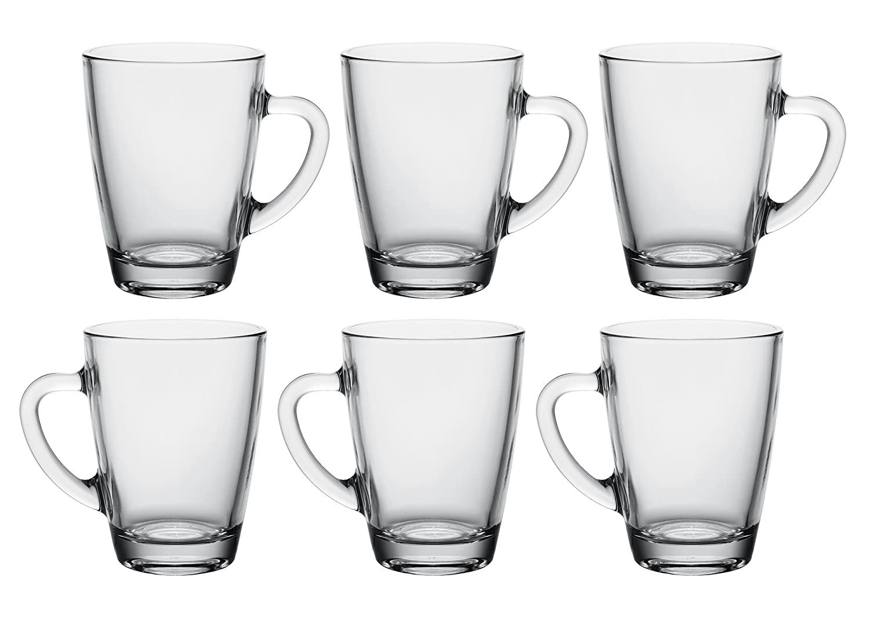 Set of 6 10 oz Vega Modern Clear Glass Mug with Handle Coffee Tea Hot or Cold Drinks