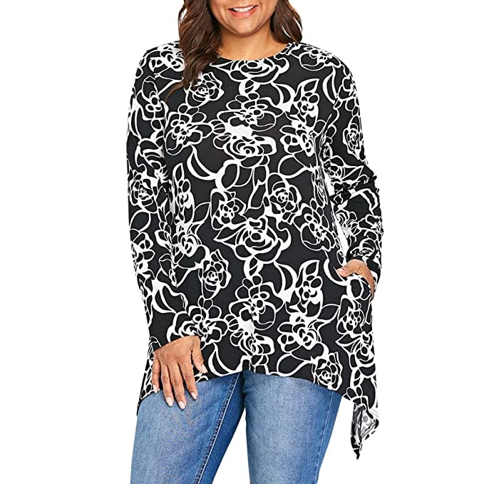 2e5c84b2ccf80 Napoo-long sleeve blouse Women Plus Size Floral Print Irregular Swing  Pullover Shirt with Pocket