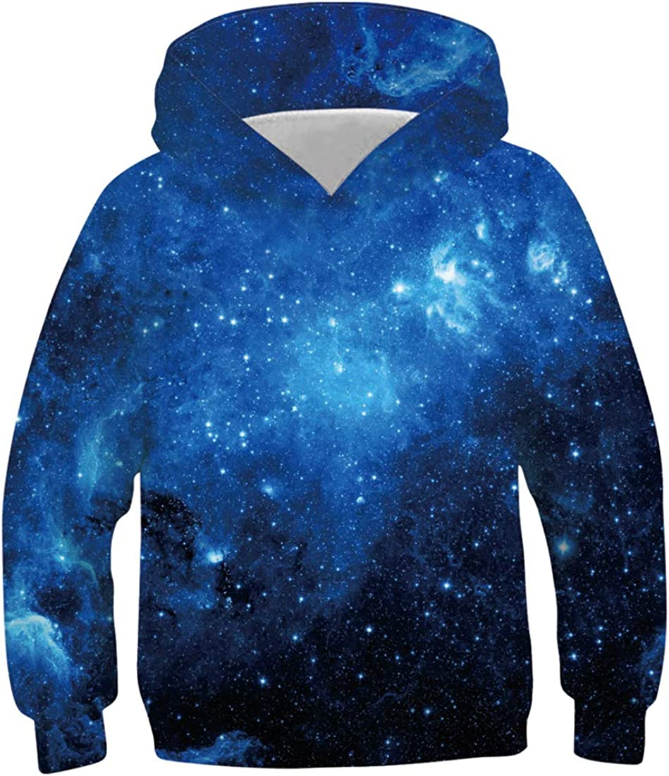 Funnycokid Boys Girls Hoodie Unisex 3D Funny Print Pullover Sweatshirts Hooded with Pockets for Kids Age 6-16 Years