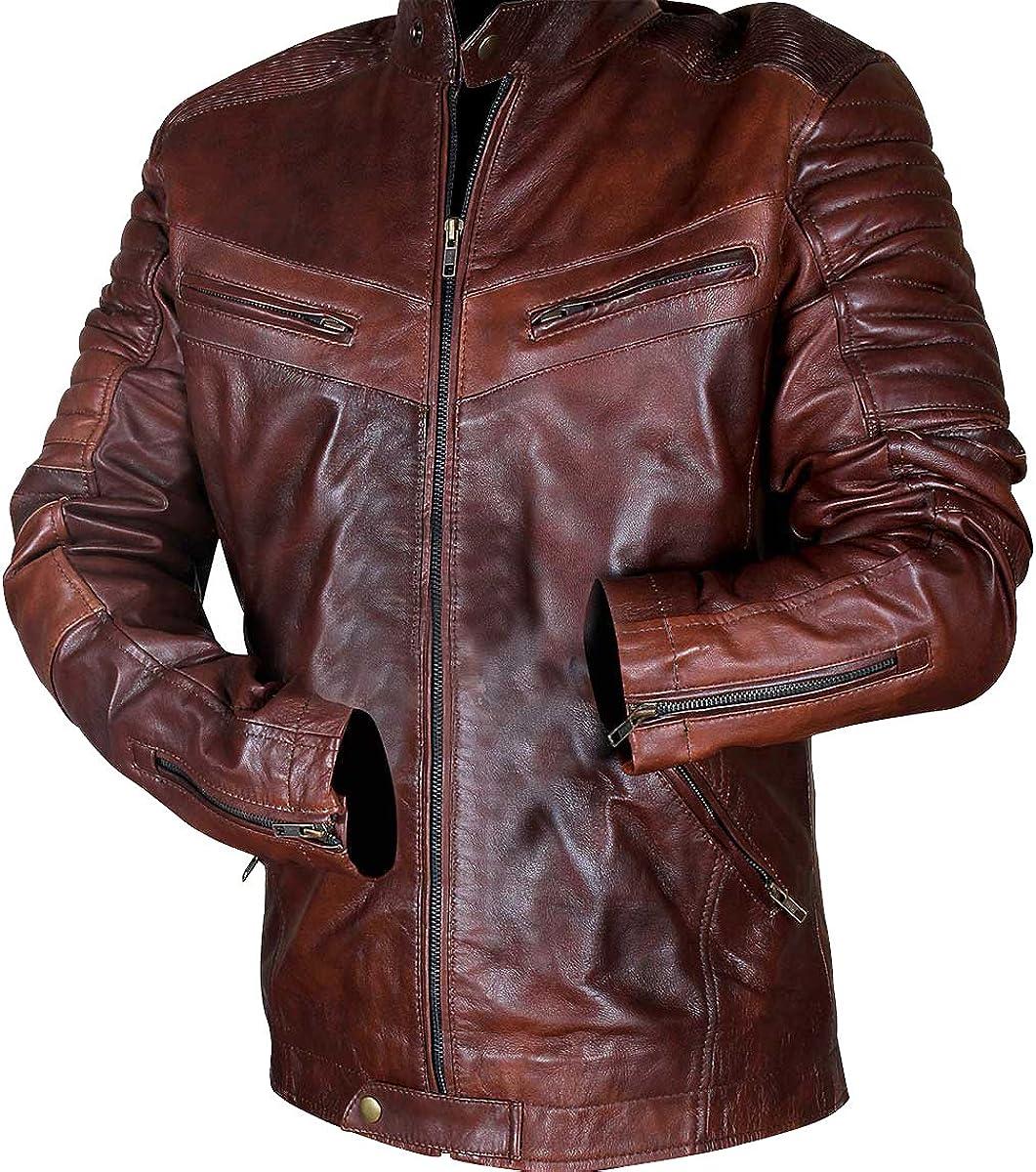 Vintage Motorcycle Distressed Brown Mens Biker Quilted Cafe Racer Retro Leather Jacket