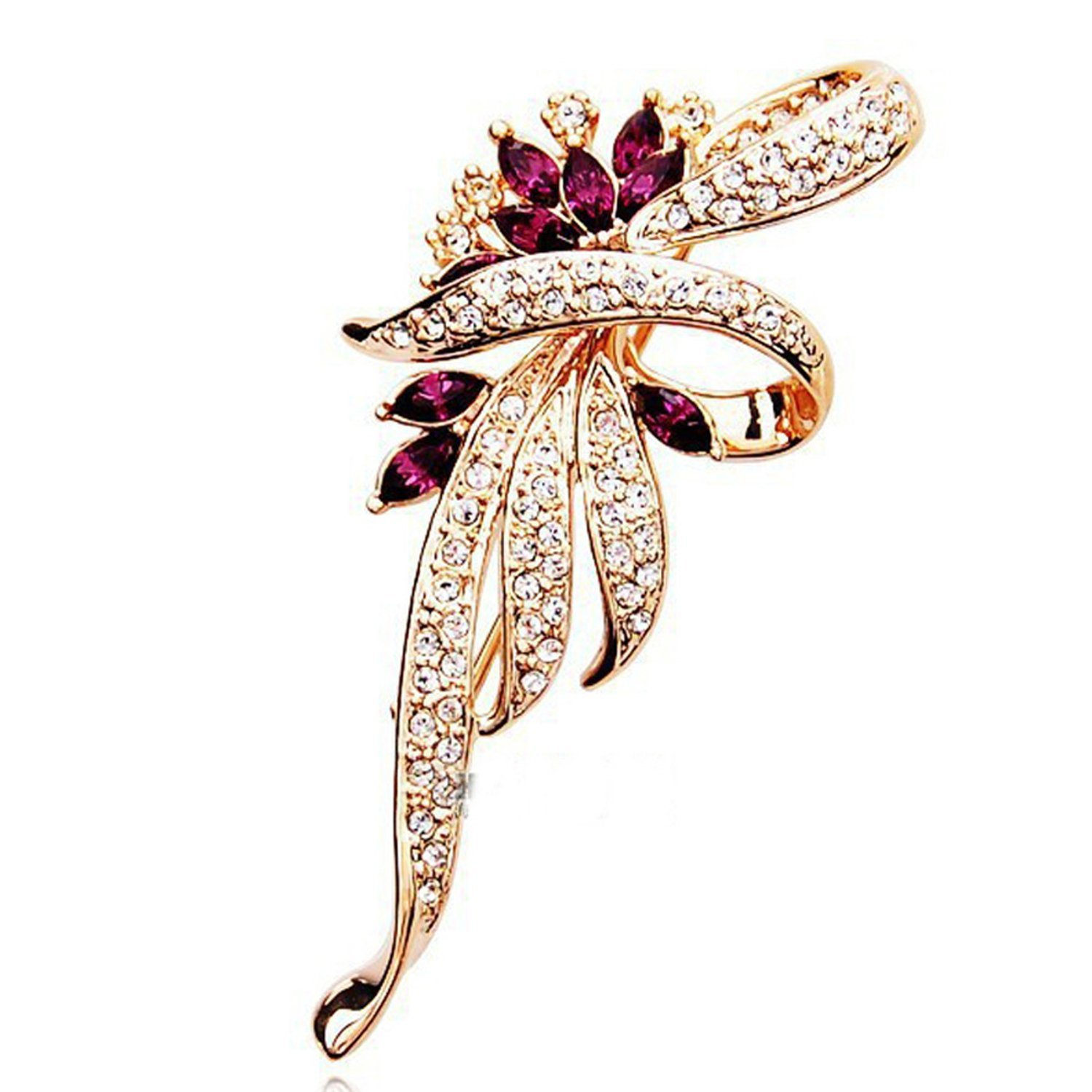 Crystal Flower Brooch Pin Women Wedding Pins Large Brooches For Women,Gd