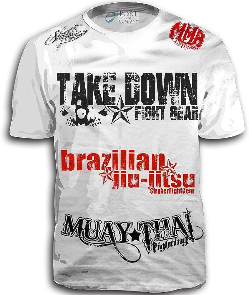 Take Down Fight Gear Skull Muay Thai Fighting Brazilian Jiu-Jitsu Walk-Out MMA UFC Tapout Style T-Shirt