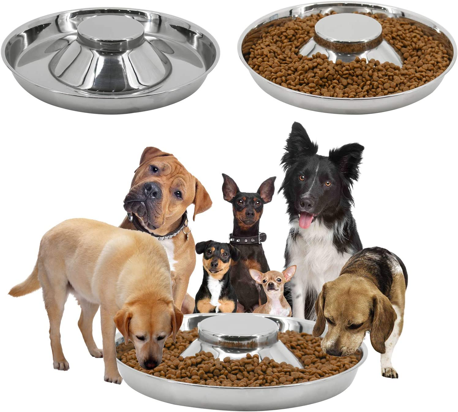 PetierWeit [3 PCS] Dog Food and Water Bowl with Raised Center Stainless Steel Diameter:11.4in/29 cm - Suitable for Small/Medium/Large Dogs