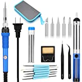Soldertek Soldering Kit, Small Portable Electric 60W Soldering Iron Kit Adjustable Temperature Welding Gun Set Solder Tools Tips Desoldering Pump Tin Wire Stand Sponge Station (17-Piece) (Blue)
