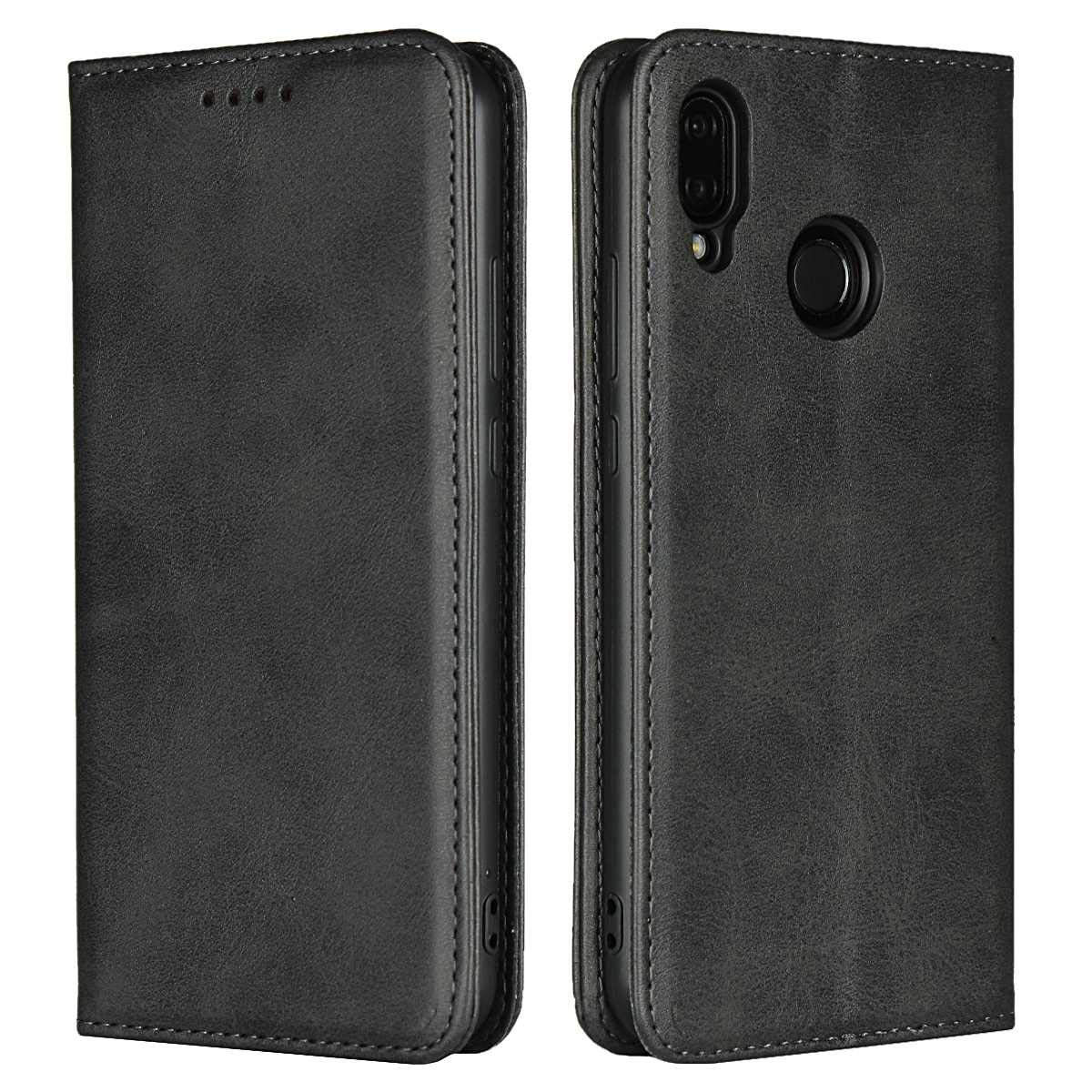 DENDICO Case for Huawei P20, Classic Leather Wallet Case Flip Notebook Style Cover with Magnetic Closure, Card Holders, Stand Feature - Black FFDDC22HWP20-0401