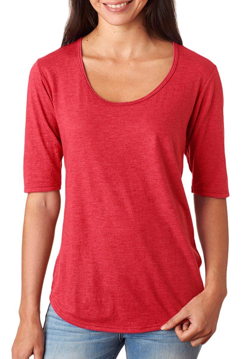 Anvil Ladies 'トリブレンドDeep Scoop 1 / 2-sleeve Tシャツ B014WCZ3YY Small|レッド(Heather Red) レッド(Heather Red) Small