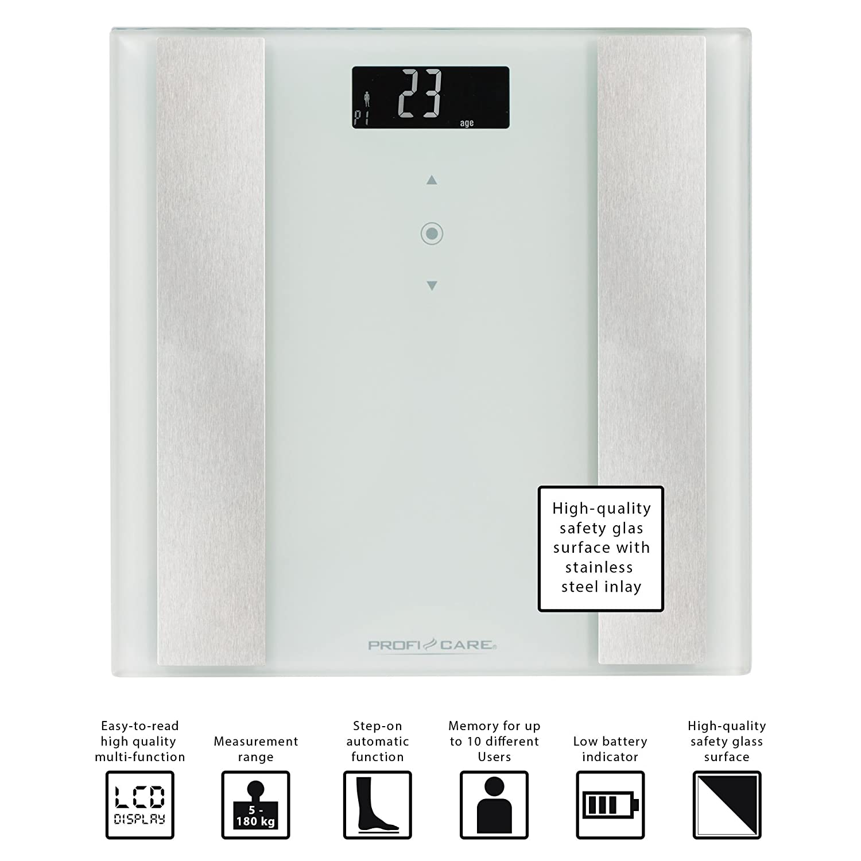 ProfiCare PW 3007 - Báscula baño digital con análisis corporal de 8 funciones diagnóstico, color blanco inox: Amazon.es: Salud y cuidado personal