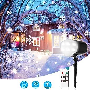 Led Weihnachtsbeleuchtung Mit Fernbedienung.Led Projektionslampe Mit Fernbedienung Elelight Led Schneeflocken 9w Led Weihnachtsbeleuchtung Außen Und Innen Ip65 Stimmungslichter Für