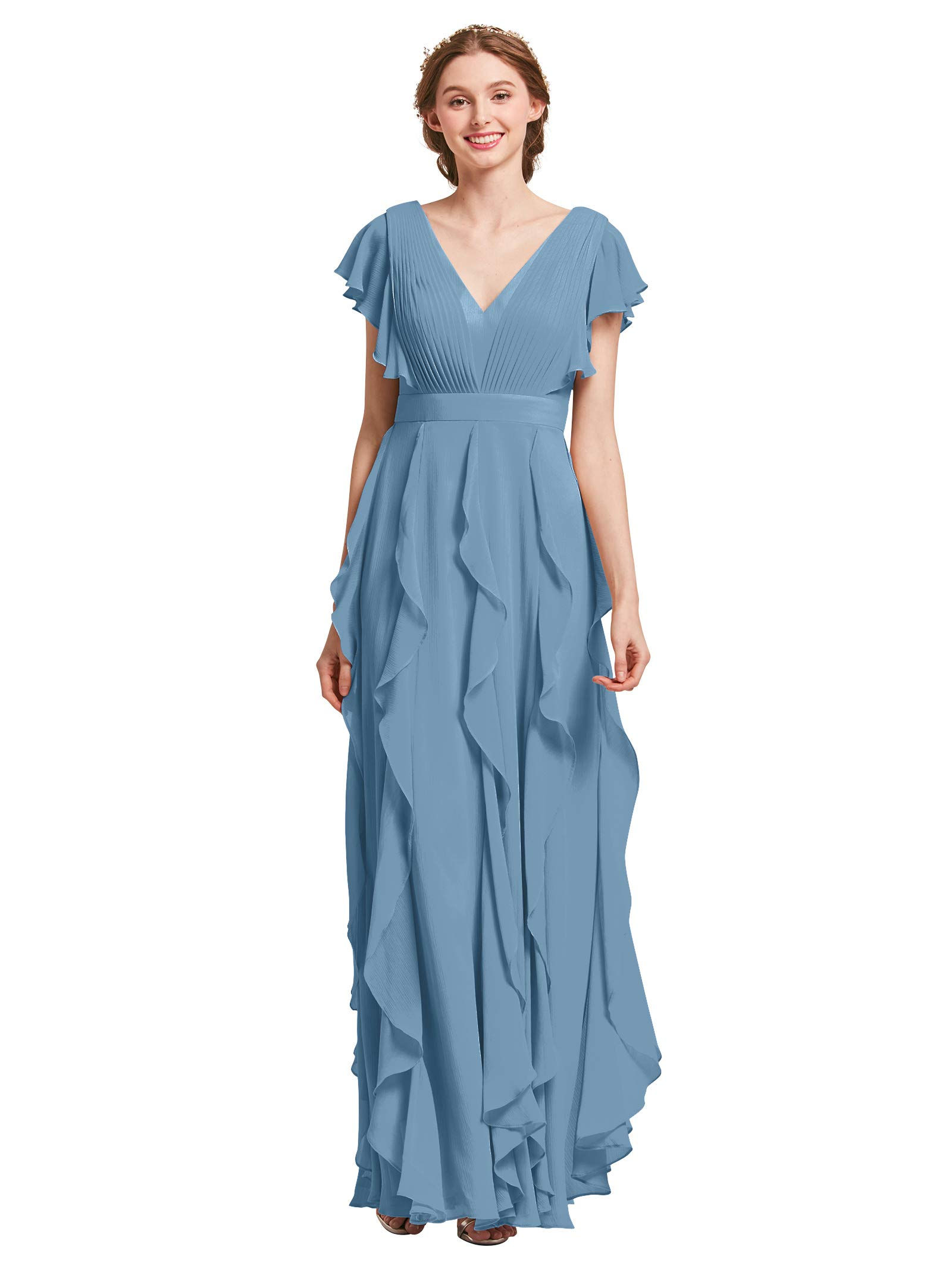 af3704de1fa1c AW Bridal Long Bridesmaid Dresses for Women Formal Dresses with Sleeves  Chiffon Gowns and Evening Dresses, Dusty Blue, US6