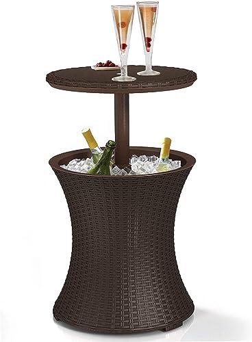 K t r Patio Outdoor Garden Premium 7.5-Gal Cool Bar Rattan Style Outdoor Patio Pool Cooler Table, Brown