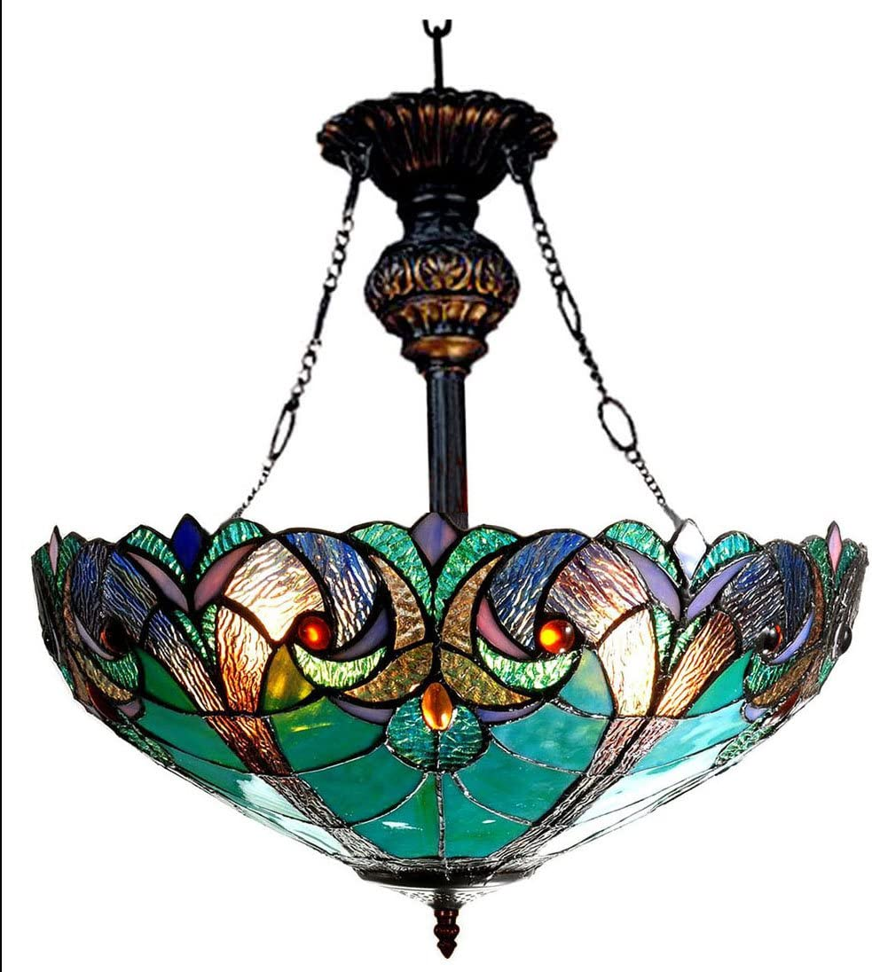 Chloe Lighting CH18780VG18-UH2 Liaison Tiffany-Style Victorian 2-Light Inverted Ceiling Pendant Fixture, 22 x 18 x 18 , Multicolor