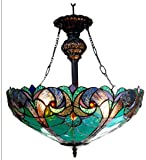 Chloe Lighting CH18780VG18-UH2 Liaison, Tiffany-Style Victorian 2-Light Inverted Ceiling Pendant Fixture, 18-Inch, Multi-colored