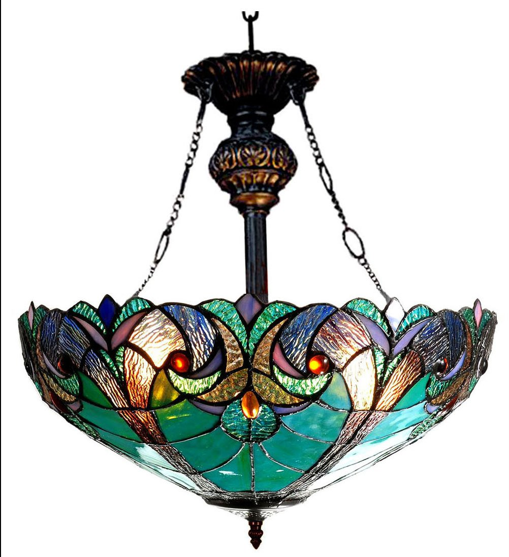 "Chloe Lighting CH18780VG18-UH2 Liaison Tiffany-Style Victorian 2-Light Inverted Ceiling Pendant Fixture, 22 x 18 x 18"", Multicolor"