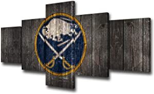 TUMOVO Wall Decorations for Living Room Buffalo Sabres Team Logo Canvas Wall Art North American Sports Picture Ice Hockey Painting Modern House Decor Wooden Framed Ready to Hang 5 Panel(50Wx24H)