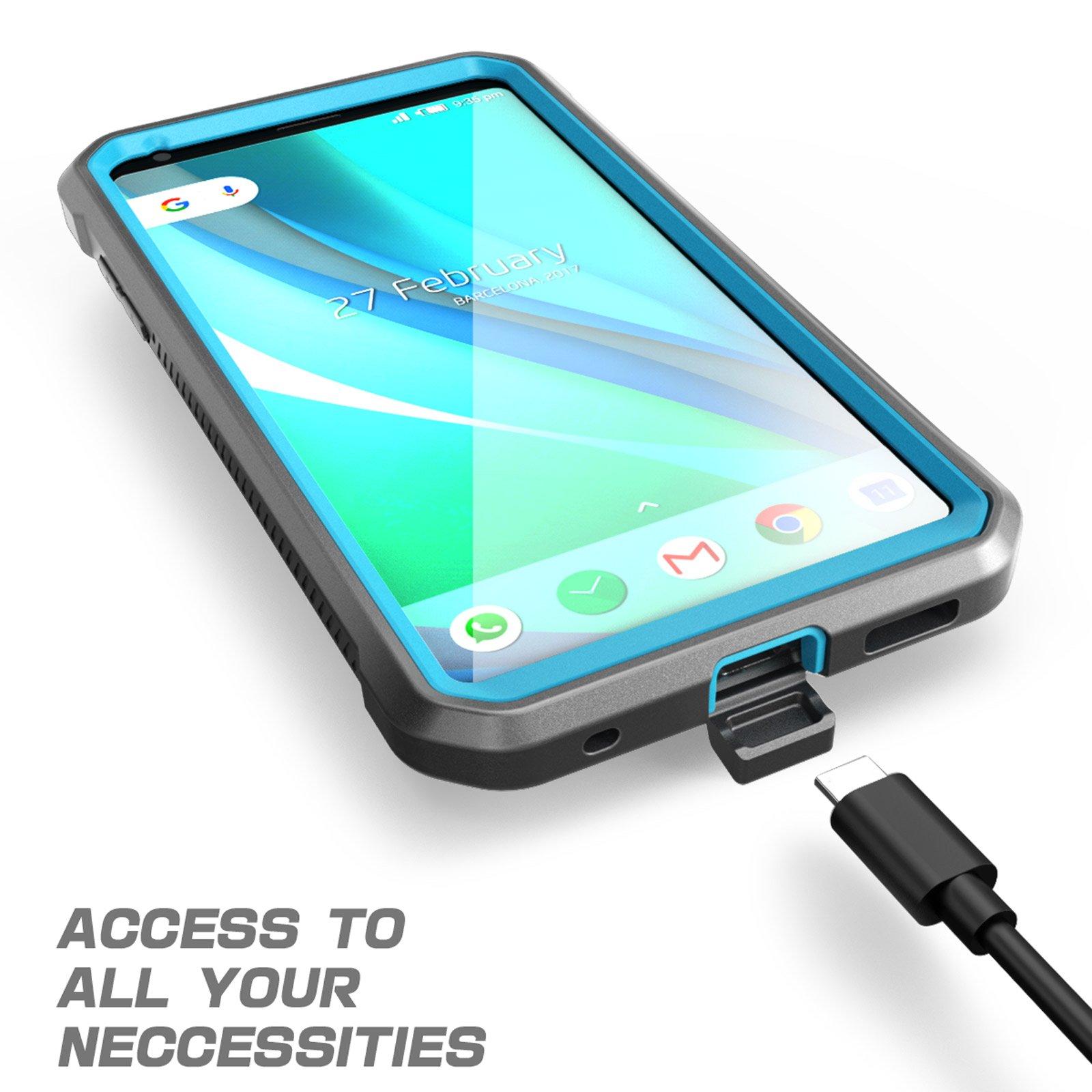 LG V30 Case, SUPCASE Full-body Rugged Holster Case with Built-in Screen Protector for LG V30, LG V30s,LG V35,LG V35 ThinQ,LG V30 Plus 2017 Release, Unicorn Beetle PRO Series(Blue/Gray) by SUPCASE (Image #6)