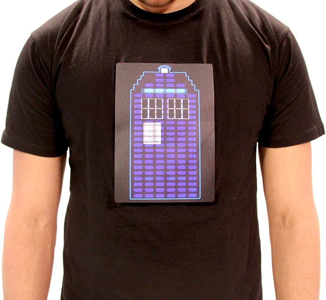 Doctor Who Tardis Sound Activated LED Camiseta Negra Para Hombre | L: Amazon.es: Ropa y accesorios