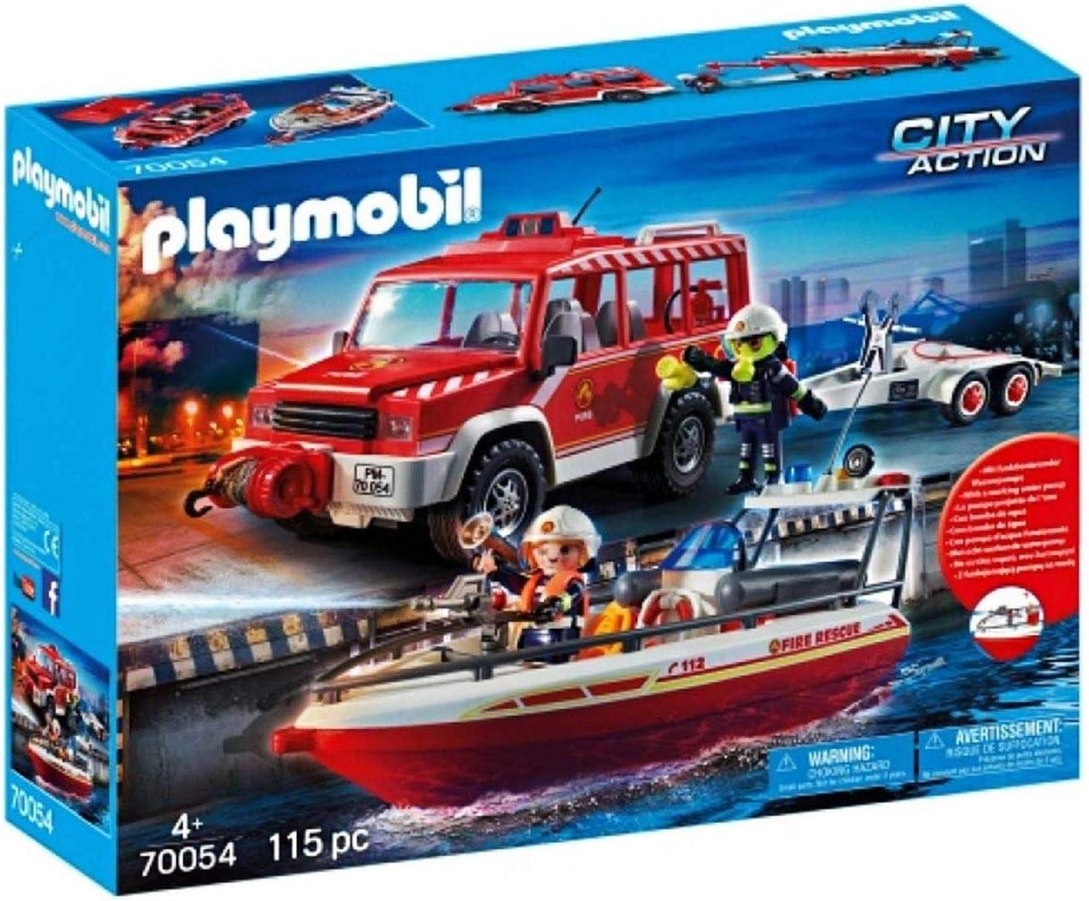 Playmobil 70054 – Juego de Bomberos con Bomberos y Bote de Bomberos, Multicolor