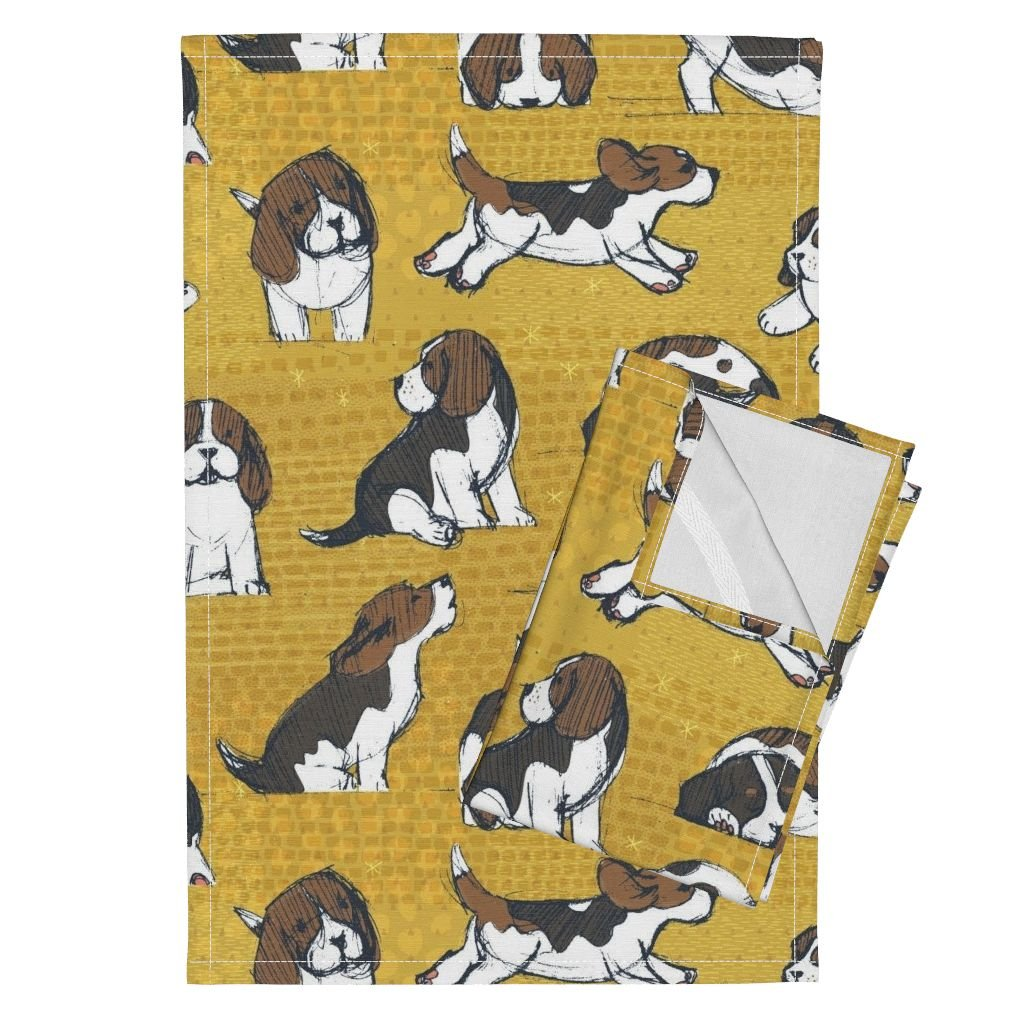 Roostery Beagle Dog Puppy Puppy Pooch Animal Cute Baby Pet Tea Towels Beagle Puppies by Friztin Set of 2 Linen Cotton Tea Towels
