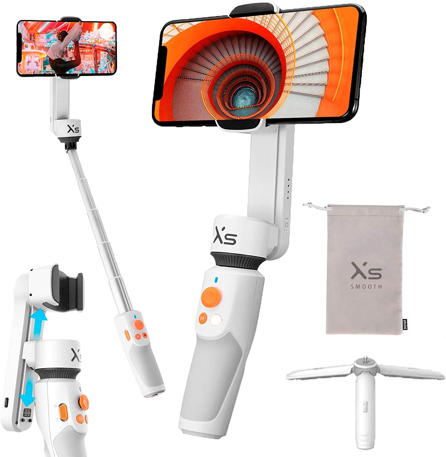 ZHIYUN Smooth XS Handheld Gimbal Stabilizer for iPhone Android Smartphone, Foldable Selfie Stick Tripod with 26cm Extensional Stick, Slide Design, w/Case, Vlog YouTube Live Video Record : Camera & Photo