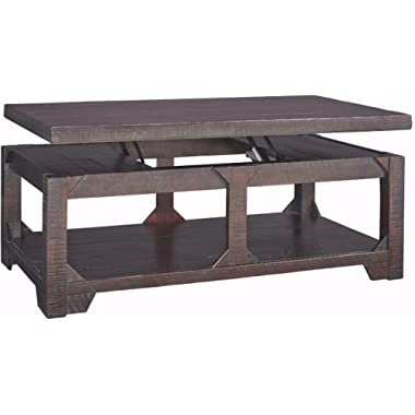 Ashley Furniture Signature Design - Rogness Coffee Table with Lift Top - Adjustable Occasional Table - Rustic Brown