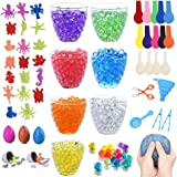 70,000+ Water Beads, 7 Colors Jelly Sensory Growing Beads with 20 Ocean Sea Animals, 5 Dinosaur Eggs, 14 Balloons, 1 Funnel, 1 Scoops 2 Tweezers and 1 Spoon for Kids Sensory