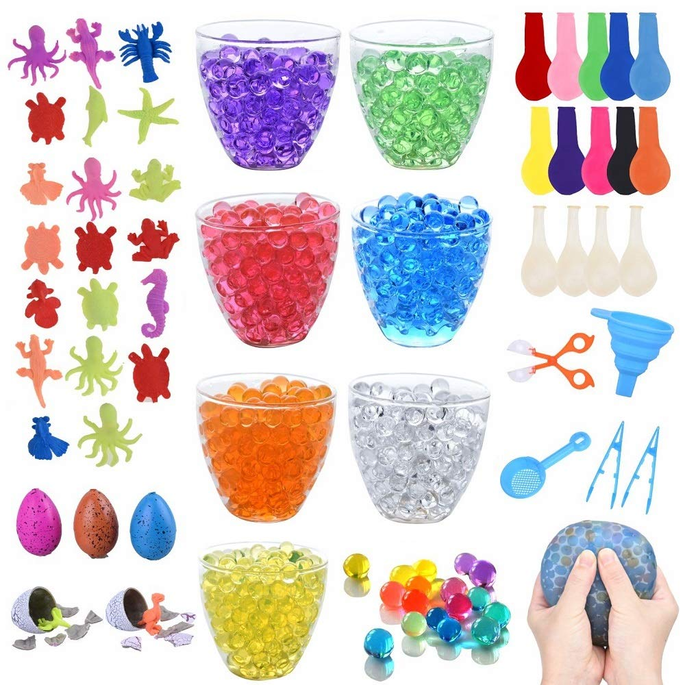 70,000+ Water Beads, 7 Colors Jelly Sensory Growing Beads with 20 Ocean Sea Animals, 5 Dinosaur Eggs, 14 Balloons, 1 Funnel, 1 Scoops 2 Tweezers and 1 Spoon for Kids Sensory by Lelix