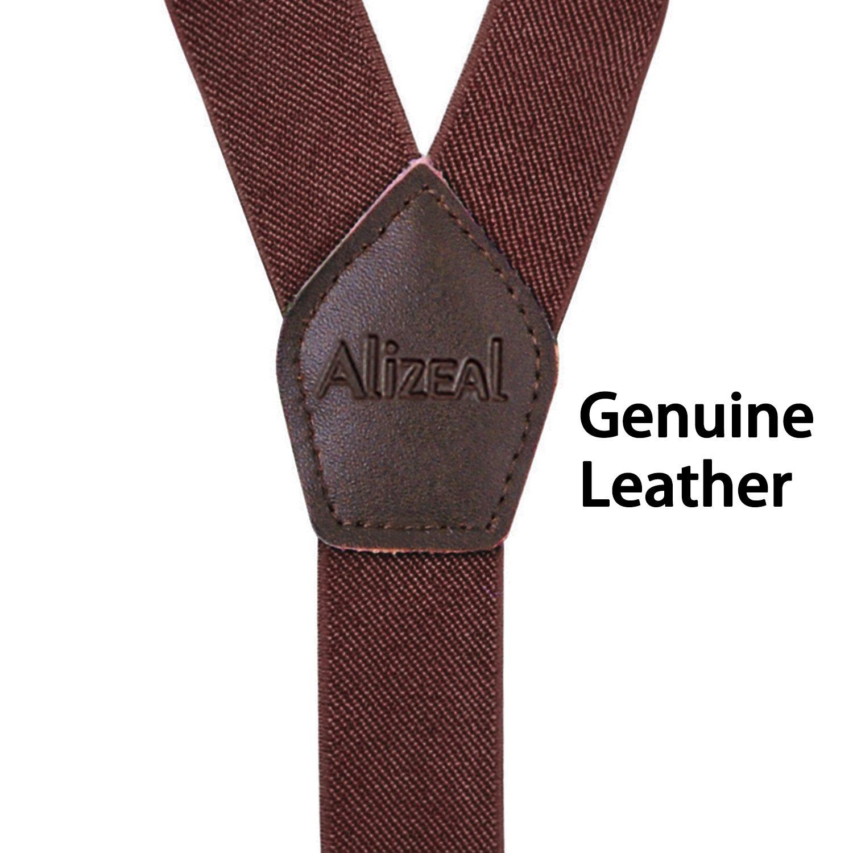 5e23bd9392b6f Alizeal Bretelles avec les Bouts en Cuir Véritable Bretelles 2.5cm Largeur  avec Boutons pour Homme-Kaki  Amazon.fr  Vêtements et accessoires