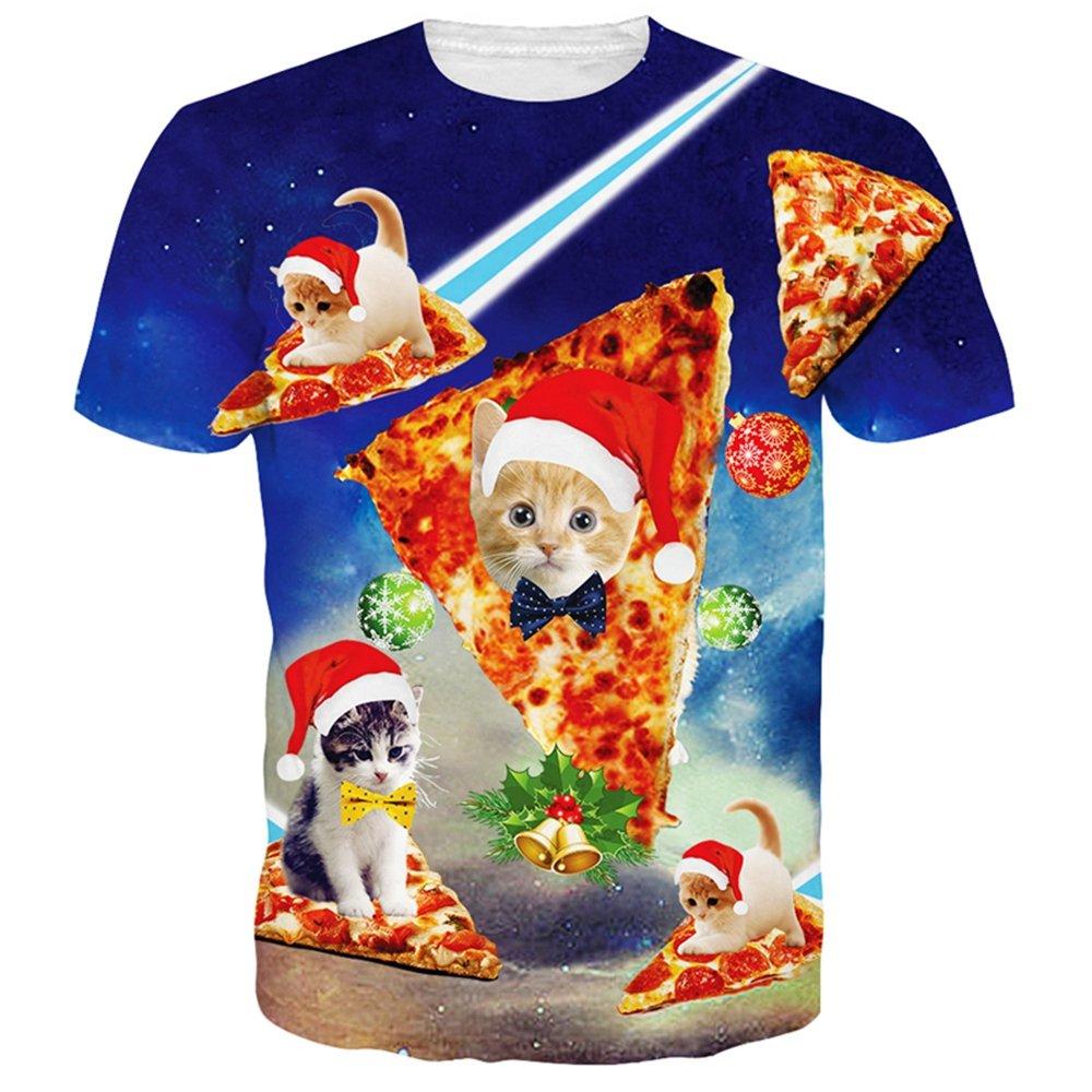 Sevem-D Summer Harajuku T Shirt Women/Men 3D Christmas Cat Galaxy Space Tee Tops