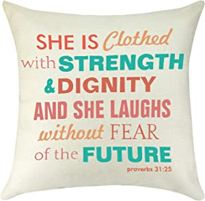 Inspirational Quotes Pillow Cover Gifts for Women Daughter Bible Verse Motivational Pillowcase Graduation Birthday Gift for Her Decorative Pillow Cases Cotton Linen Cushion Covers for Sofa 18