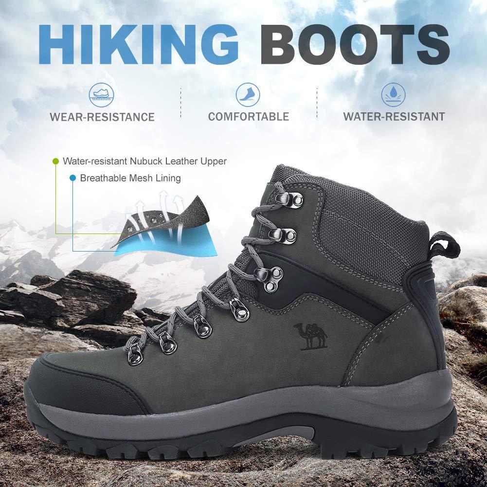 CAMEL CROWN Herren Trekkingschuhe High-Top-Wanderschuhe D/ämpfung Anti-Slip Wanderhalbschuhe Nubuk Arbeitsschutzschuhe F/ür Outdoor Camping Wandern Klettern Reisen