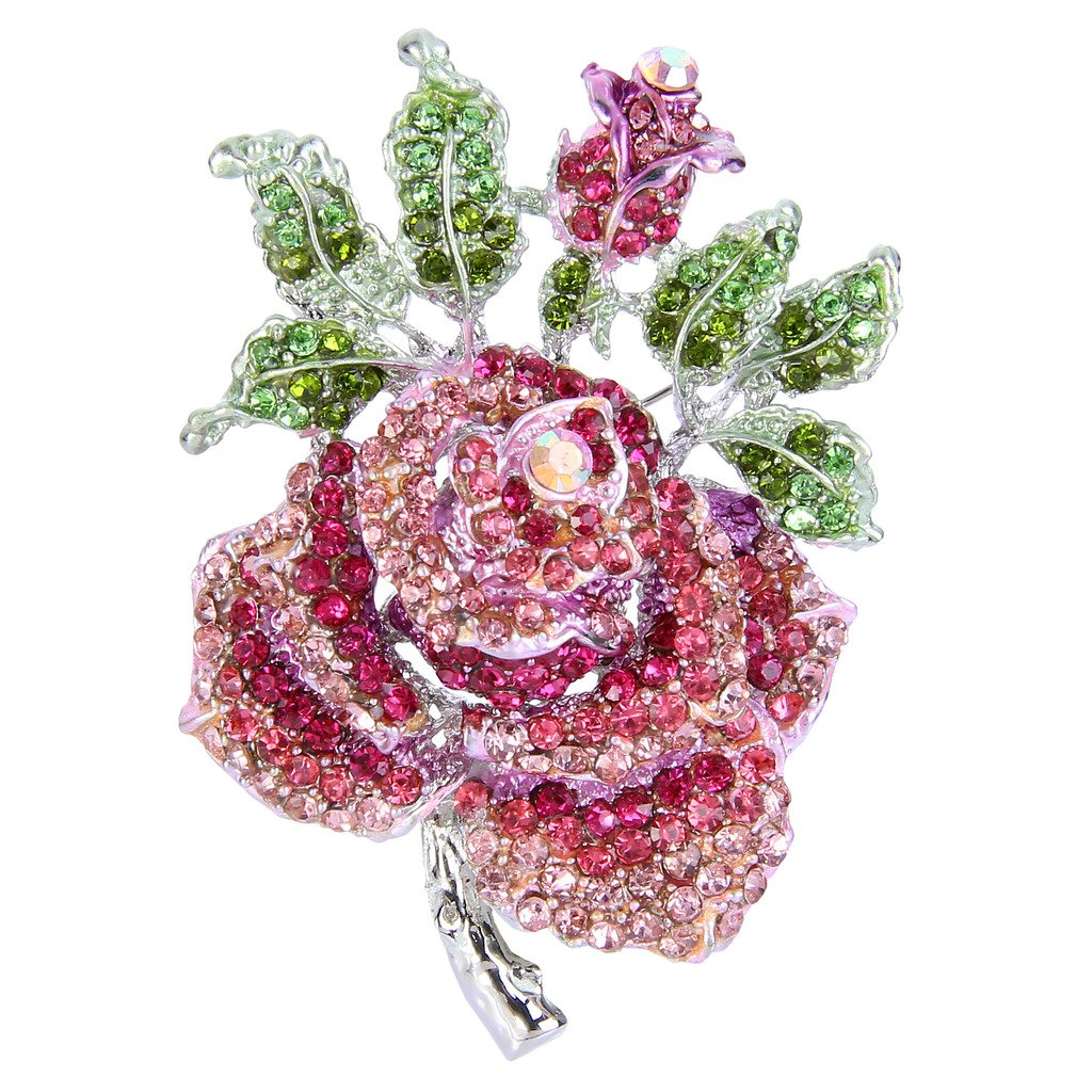 EVER FAITH Mothers' Gifts Austrian Crystal Enamel Rose Flower Leaf Brooch Pink Silver-Tone