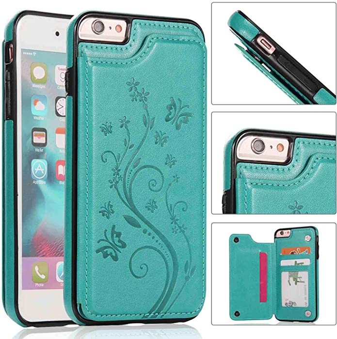 iPhone 6s Wallet Case with Card Holder,iPhone 6 Case [Butterfly Series] Wallet for Women Girls Men,i-Dawn Compatible with iPhone 6S Cute Case Slim Fit Premium Leather Cover with Stand,Durable -Green