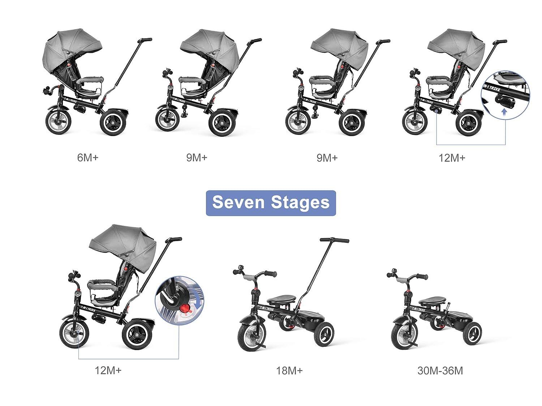 besrey Triciclos Bebes, Triciclo Bebe evolutivo Infantil 7en1 Bicicletas para Bebe niños reclinable Triciclo Cochecito con Cuna Reversible al Padres