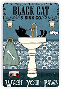 DZGlobal Cat Tin Sign - Vintage Black Cat Wash Your Paws Tin Sign for Cat Crossing Sign, Bathroom Backyard Garage Man Cave Shed Office Craft Room Living Room