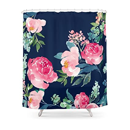 Society6 Navy And Pink Watercolor Peony Shower Curtain 71quot