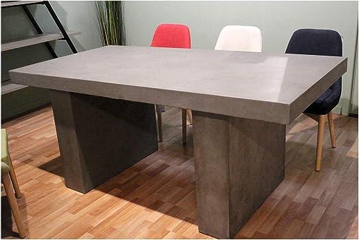 Mesa de comedor en hormigón – salón y jardín – Design moderno loft y Industrial: Amazon.es: Hogar