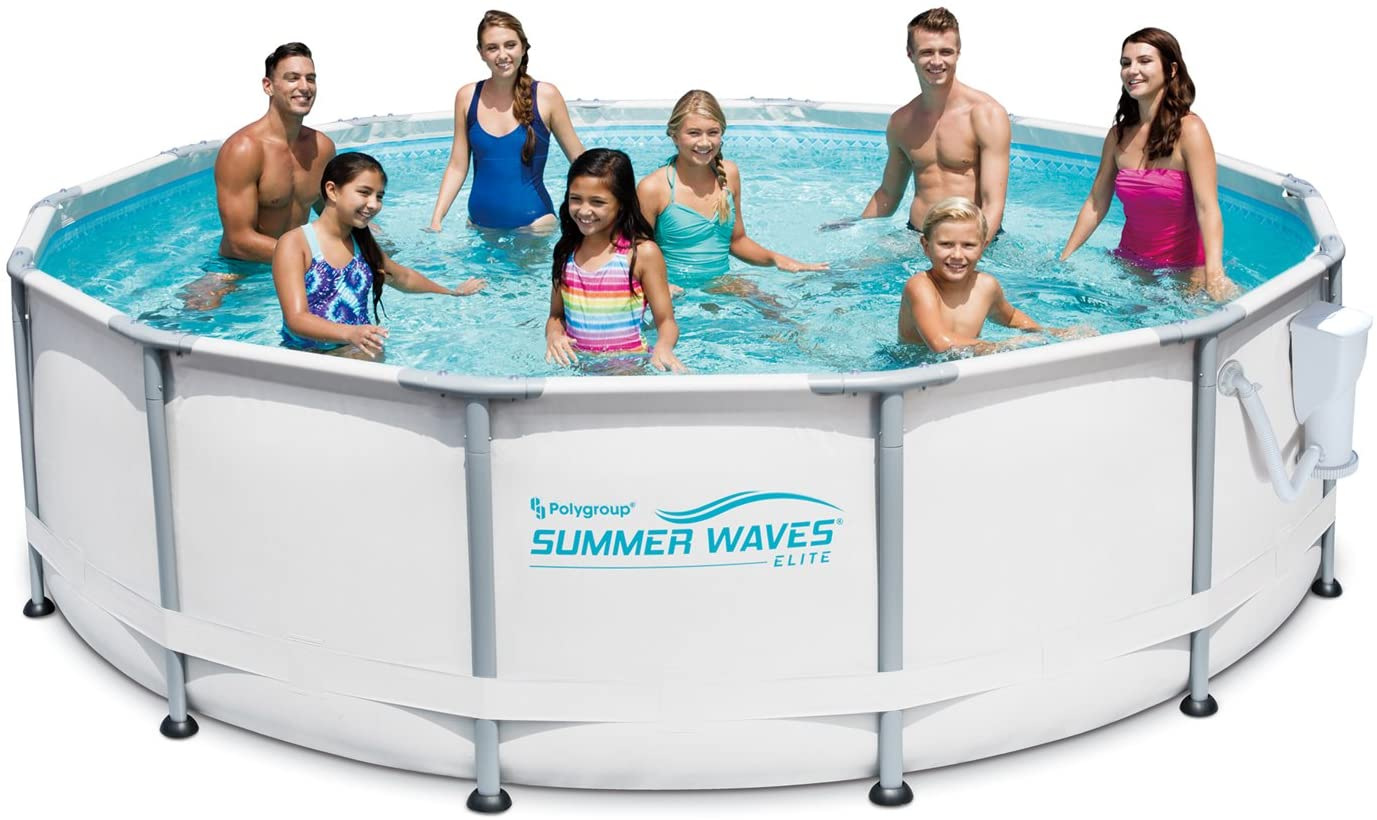 Amazon Com Summer Waves Elite 14 X 42 Premium Frame Above Ground Swimming Pool With Filter Pump System And Deluxe Accessory Set Kitchen Dining