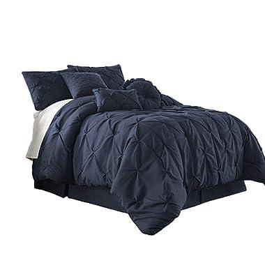 Chezmoi Collection Com Sydney 7-Piece Pintuck Bedding Comforter Set (Queen, Navy)