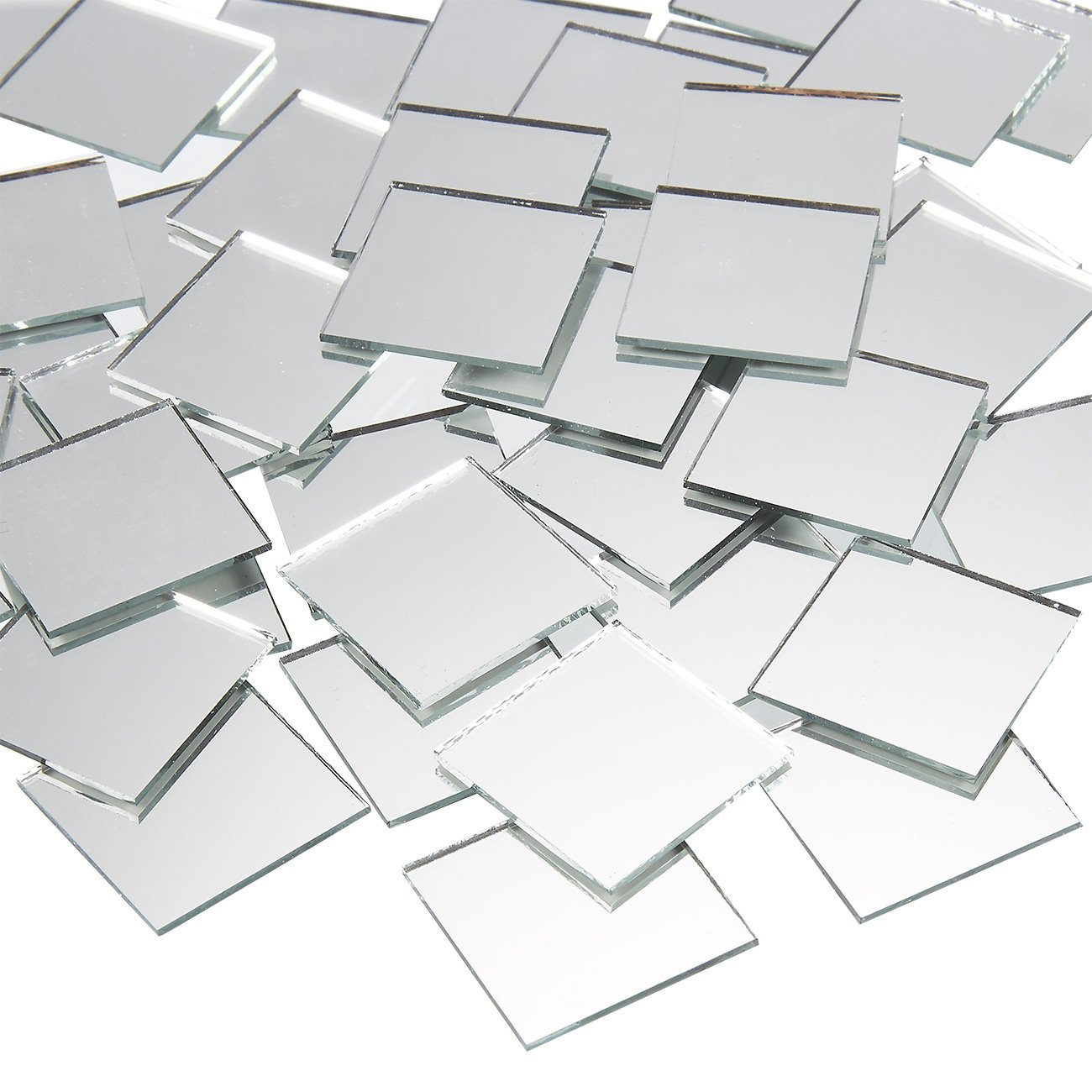 Craft Mirrors - 120-Pack Bulk Square Mirror Tiles - 1x1 Inch Glass Mosaic Tiles