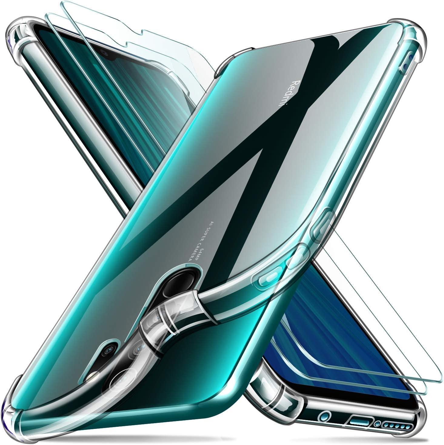 Leathlux Funda Xiaomi Redmi Note 8 Pro + [2 Pack] Cristal Templado Protector de Pantalla, Ultra Fina Silicona Transparente TPU Carcasa Protector Airbag Anti-Choque Anti-arañazos Caso Xiaomi Note 8 Pro
