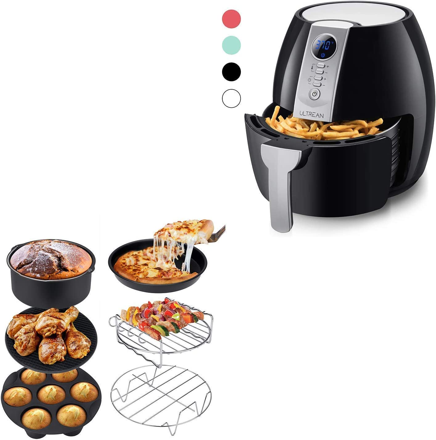 Ultrean Air Fryer, 4.2 Quart (4 Liter) Electric Hot Air Fryers Oven Oilless Cooker and Air Fryer Accessories, Set of 6 Fit All 5.8Qt,6Qt Air Fryers, BPA Free, FDA Compliant, XL