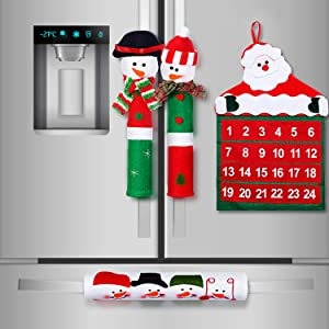 Boao Refrigerators Handle Covers Christmas Decoration, 3 Pieces Snowman Christmas Handle Covers and 1 Piece Christmas Santa Countdown Calendar Kitchen Decoration Set