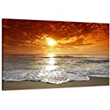 "Picture – art on canvas beach length 31,5"" height 24"", one-part parts model no. XXL 4038 Pictures completely framed on large frame. Art print Images realised as wall picture on real wooden framework. A canvas picture is much less expensive than an oil painting poster or placard"
