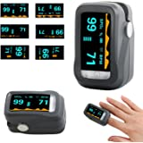SpO2 Fingertip Pulse Oximeter Oximetry Blood Oxygen Saturation Monitor with Alarm System & Pulse Sound Indicate, Lanyard and Carrying Bag, Rotatable OLED Display Portable Pulse Oximeter (Grey)
