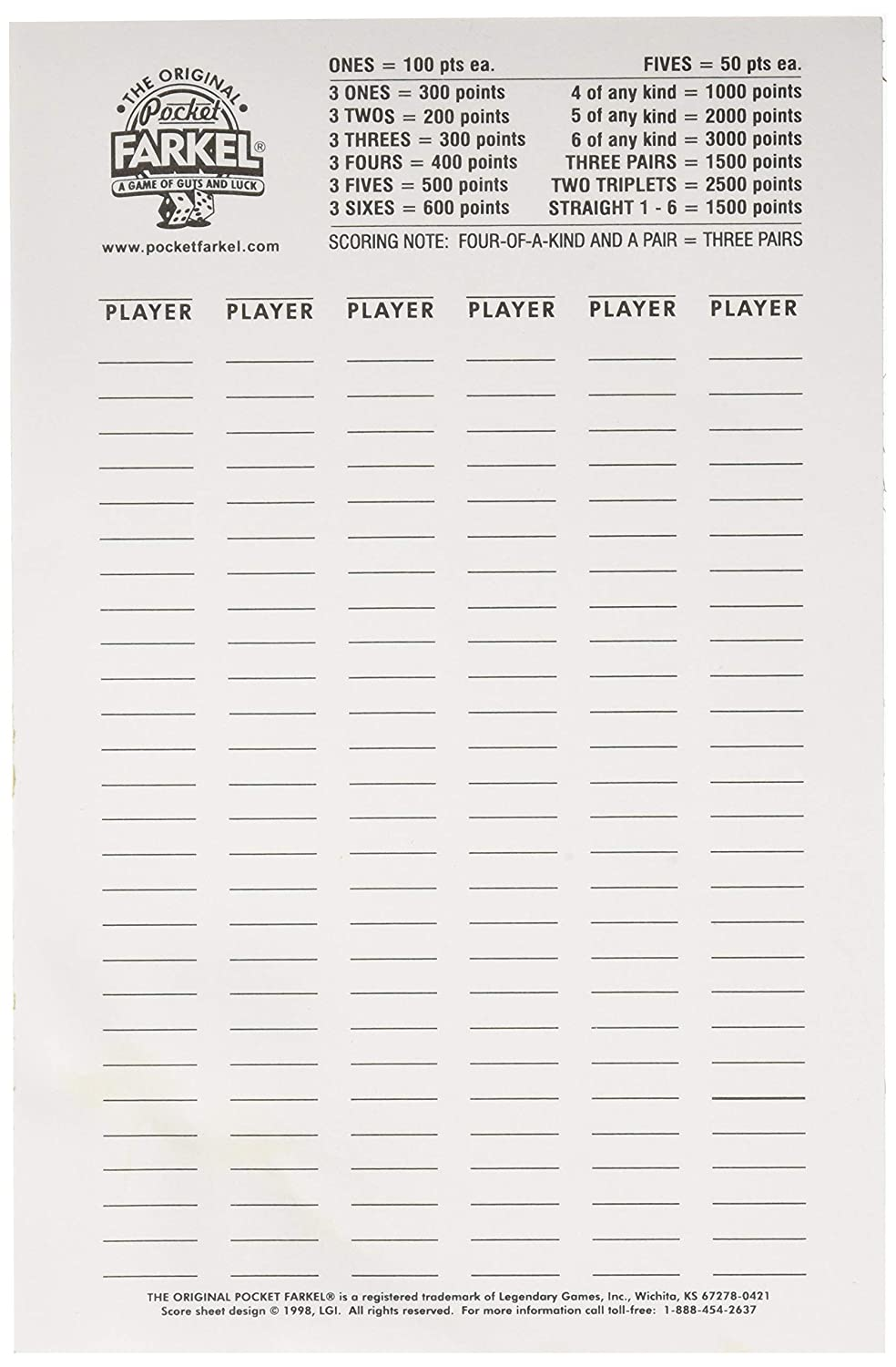 image relating to Printable Farkle Score Sheets identify Mythical Game titles LGISCPDLG Farkel Ranking Pad, Multicolor