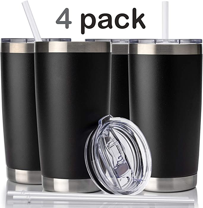 Civago 20oz Tumbler with Lid and Straw, Stainless Steel Vacuum Insulated Coffee Tumbler Cup, Double Wall Powder Coated Travel Mug (Black, 4 Pack)