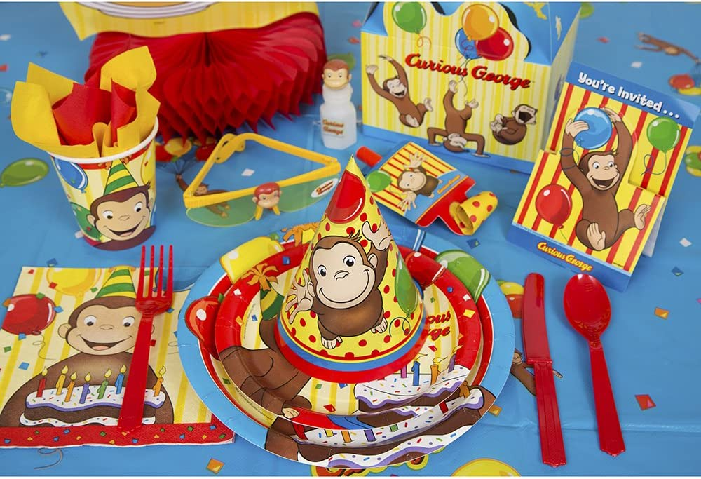 8Ct Unique Curious George Paper Cake Plates